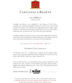2012 Cartlidge & Browne Merlot, North Coast
