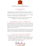 2012 Cartlidge & Browne Zinfandel, North Coast